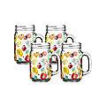 4 Kilner® Fruit Cocktail Drinking Jars with Handles