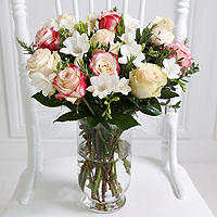 Rose and Freesia Bouquet With Free Express Delivery