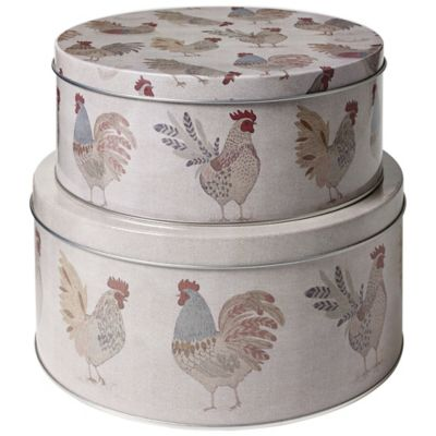 Artisan Hen Cake Storage Tins Set Of 2