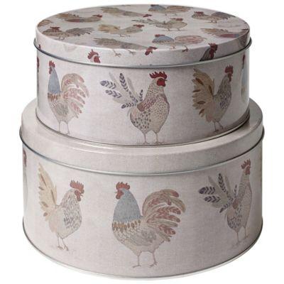 artisan hen cake storage tins set of 2. Black Bedroom Furniture Sets. Home Design Ideas