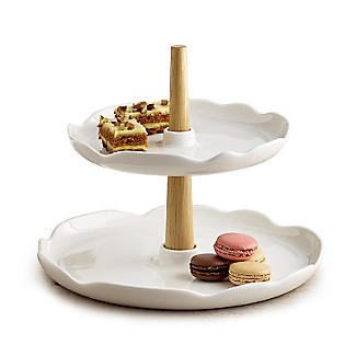 Two Tier Cream Cake Stand alt image 1