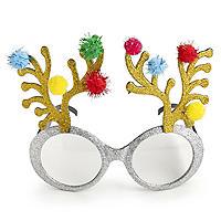 Glitzernde Rentier-Spaßbrille