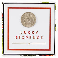 Botanical Christmas Lucky Sixpence
