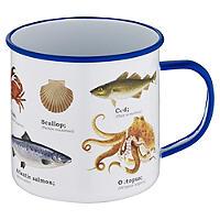 Emaillebecher mit Motiv Meeresbewohner