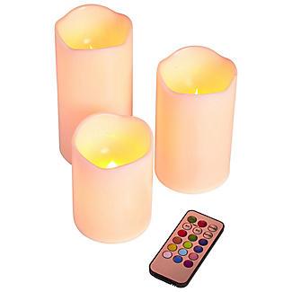 3 Kerzen mit Farbveränderung und Fernbedienung