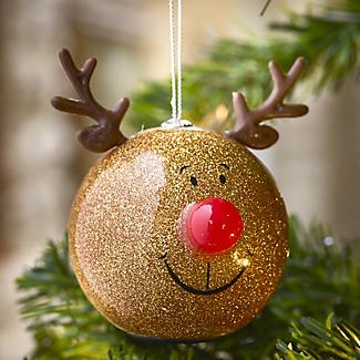 Gold Glitter Reindeer Bauble alt image 2