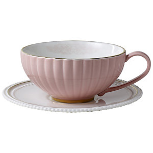 Eclectic Pink Teacup & Saucer