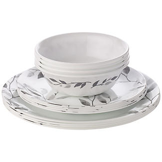 "Corelle® 12-teiliges Essgeschirr ""Misty Leaves""-Muster"