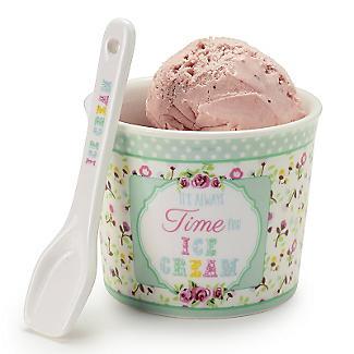 Set mit Dessertschale und Löffel für Eis aus Porzellan, grün