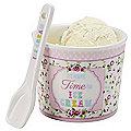 Porcelain Ice Cream Bowl & Spoon Pink