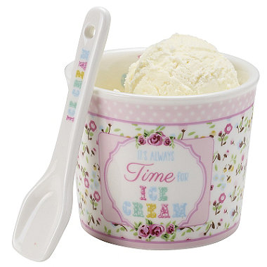 Porcelain Ice Cream Bowl & Spoon Pink