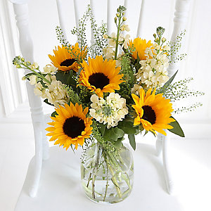 Sunflowers & Stocks Bouquet With Free Express Delivery