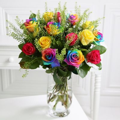 multi coloured rainbow roses with free express delivery