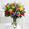 Rainbow Roses Bouquet With Free Express Delivery