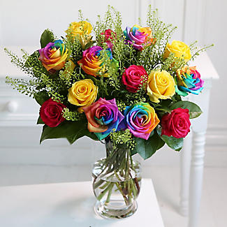 rainbow roses bouquet with free express delivery alt image 2