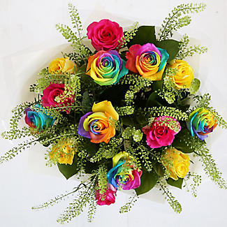 rainbow roses bouquet with free express delivery alt image 3
