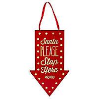 """Weihnachtliches LED-Leuchtschild """"Santa PLEASE Stop Here"""""""