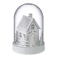 Weihnachtliches LED-Holzhaus unter Glas