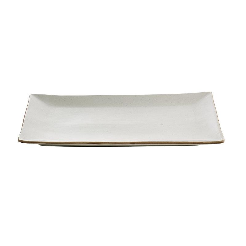 Naturals Rectangular Ceramic Serving Platter - Cream Speckle