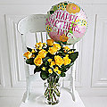 Sunshine Roses & Balloon Bouquet with Free Express Delivery