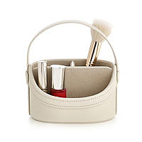 Cream Faux Leather Mini Make Up Caddy