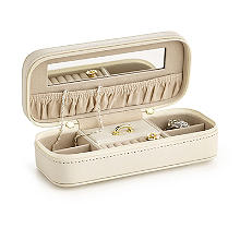 Cream Faux Leather Travel Jewellery Case