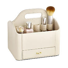 Cream Faux Leather Make Up Storage Caddy