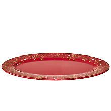 Festlicher, ovaler Melamin-Servierteller mit Misteldekor