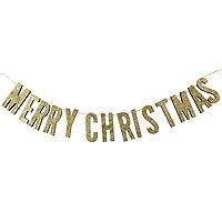 Rose Gold Wooden Merry Christmas Bunting