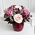 Rose Blush Arrangement and Ceramic Planter with Free Express Delivery