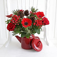 Festive Teapot Floral Display with Free Express Delivery