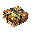 Naturally Med Square Olive Wood Coasters Set of 4