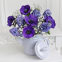 True Blue Teapot Bouquet With Free Express Delivery