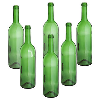 Home Brewer's 6 Empty Glass Wine Bottles - 75cl Green