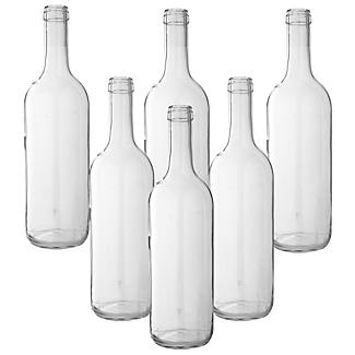 Home Brewer's 6 Empty Glass Wine Bottles - 75cl Clear