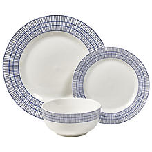 12-Piece Abstract Blue Dinner Set