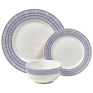 12-Piece Abstract Blue Dinner Set