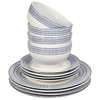 12-Piece Abstract Blue Dinner Set alt image 2