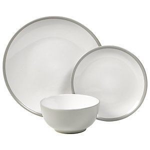 12-Piece Dove Grey Stoneware Dinner Set