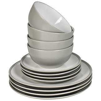 12-Piece Dove Grey Stoneware Dinner Set alt image 2