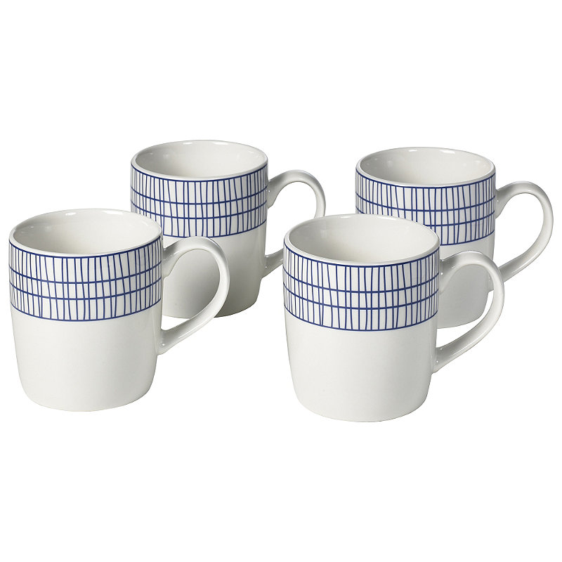 4 Pack Abstract Blue Mugs