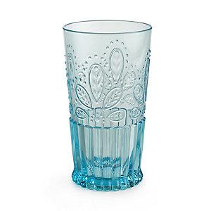 Fiesta Blue Plastic Unbreakable Glassware - Tall Drinks Tumbler Glass