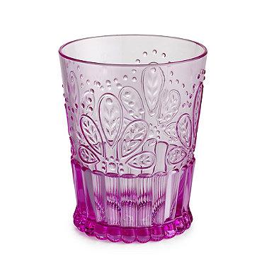 Fiesta Pink Plastic Unbreakable Glassware - Shorts Tumbler Glass