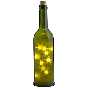 LED 3D Star Green Glass Bottle For Outdoor Parties