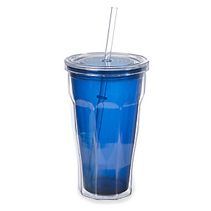 Blue Tumbler To Go With Lid & Straw - Insulated 570ml