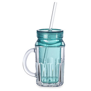 Turquoise Tankard To Go With Lid & Straw - Insulated 430ml