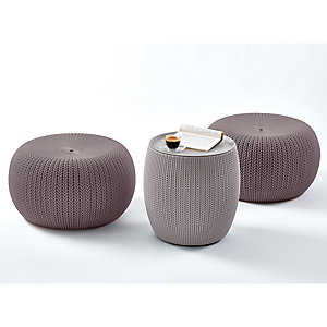 Urban Garden Furniture Cozy Table & 2 Stools Set