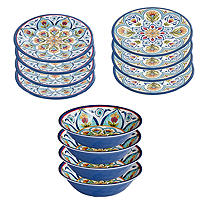 Amalfi Melamine Picnicware 12 Piece Dinner Set