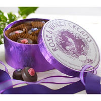 Rose & Violet Dark Chocolate Fondant Creams in