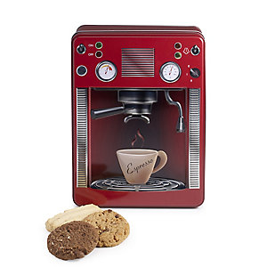 Red Espresso Machine Biscuit Tin